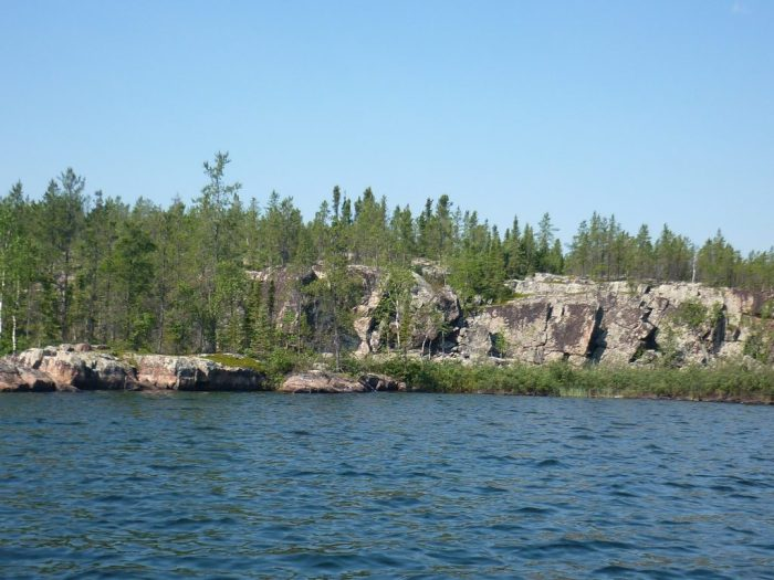 Rocky cliffs, upper reaches of the Fond du Lac River