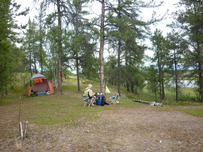 Looking east, our camp and the Porcupine River