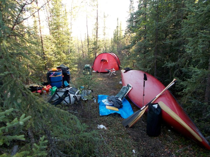 Our camp at about the 3km mark on the Chipman Portage