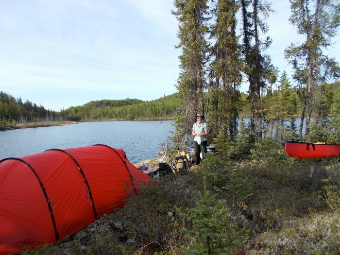 Our camp on a small island, north end of un-named lake 'F'