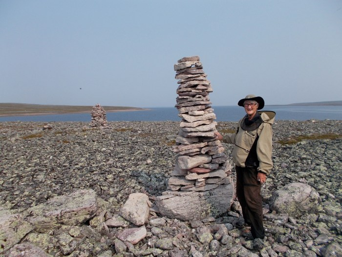 Prominent cairns on an island where the Thelon River leaves Aberdeen Lake
