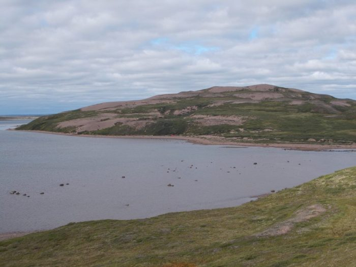 View towards the esker we explored and our camp, taken from above Canoe Point