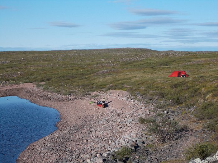 The tent was on nice spongy tundra moss, but walking anywhere stirred up hoardes of black flies