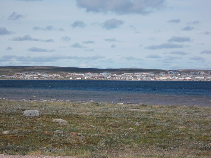 So near but still a hard slog into an unforgiving headwind, the view from the 'Big Inukshuk' near the airport