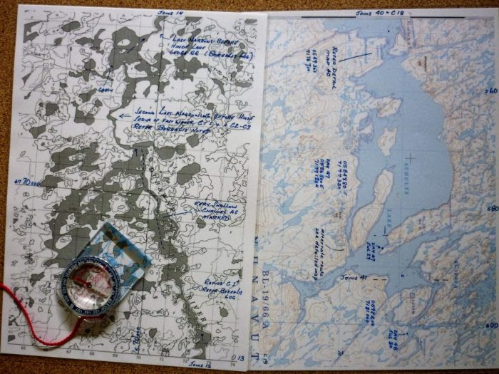 This is all we use to navigate - 1:50,000 maps (L) and1:250,000 maps (R) on the larger lakes, plus a simple magnetic compass