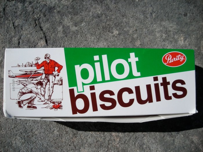 Pilot Biscuits, these are the square variety which we prefer because they're easier to pack