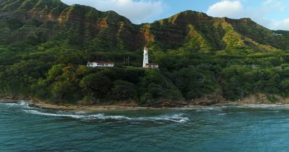 drone photo-Oahu-Lighthouse-From Ocean