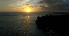 drone photo-Oahu-Sunset & City
