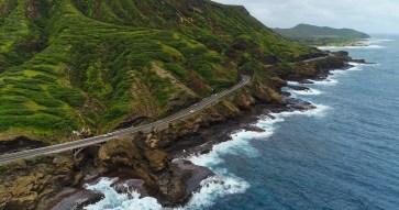 drone photo-Oahu-Winding Road & Coastline