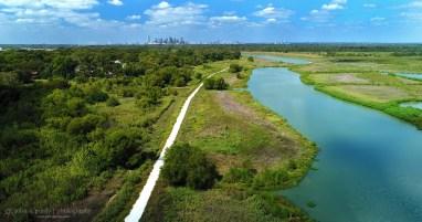 Drone Dallas Skyline with River
