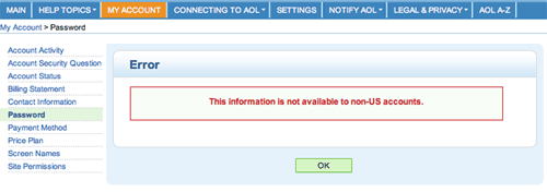 A screenshot of AOL telling me I\'m not allowed to change my password