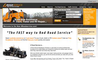 4RoadService.com home page after the re-design.