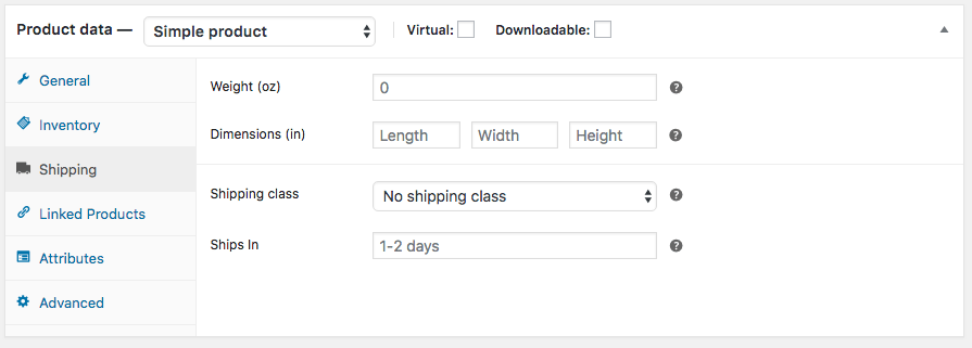 "A screenshot of the new ""Ships In"" field in the WooCommerce admin."