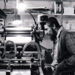 Len Fulton (left), John Bennett (right), Small Press Review print shop, circa late 70s