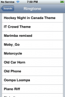 My updated ringtone list