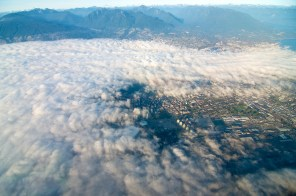 Vancouver, mostly covered in fog