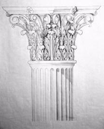 Decorative cap pencil on paper