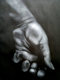 Sketch of hand pastel on paper