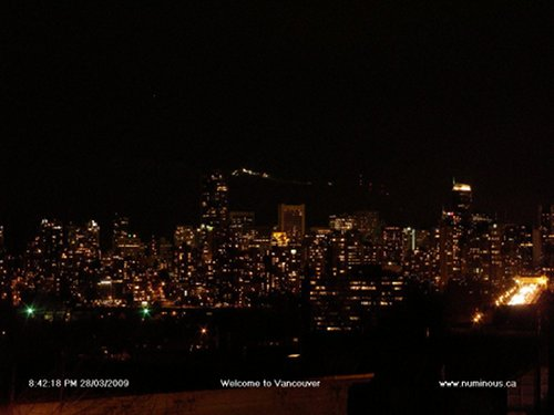 Downtown Vancouver during Earth Hour 2009 from numinous.ca