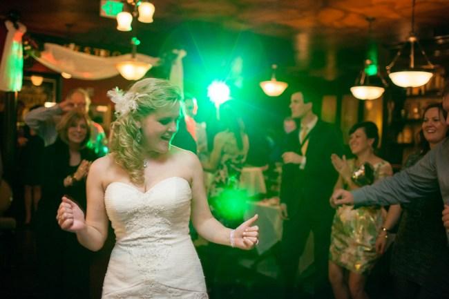 downtown denver wedding photography bride dancing