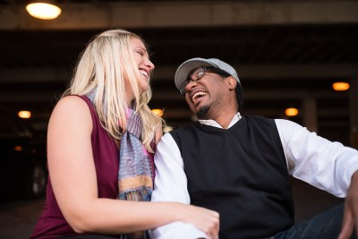 Denver LoDo Engagement photography laughing