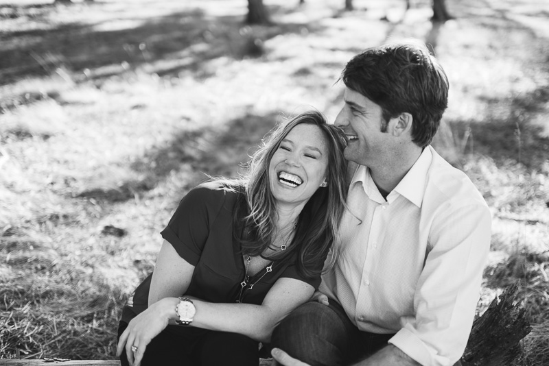 evergreen engagement photos laughing couple