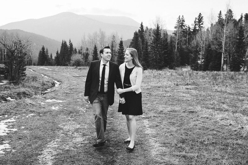 Evergreen Engagement Photos black and white couple walking