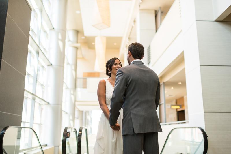 Denver Wedding Photography History Colorado escalator first look