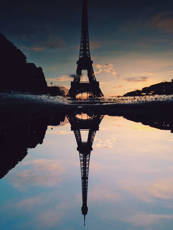 paris eiffel tower reflection sunset