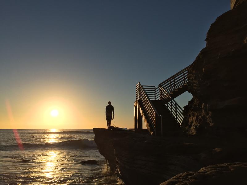 san diego sunset cliffs surfer