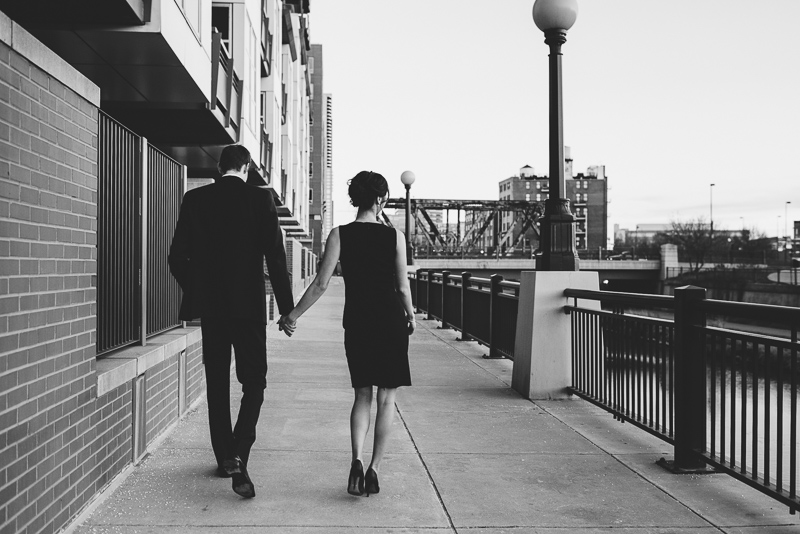 Denver engagement photography black and white walking holding hands
