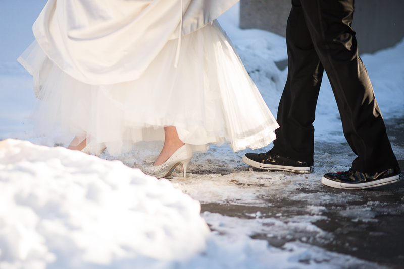 denver wedding photography walking in snow