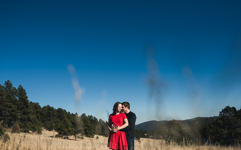 Evergreen Engagement Photography red dress