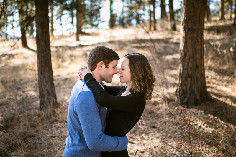 Evergreen Engagement Photography snuggle