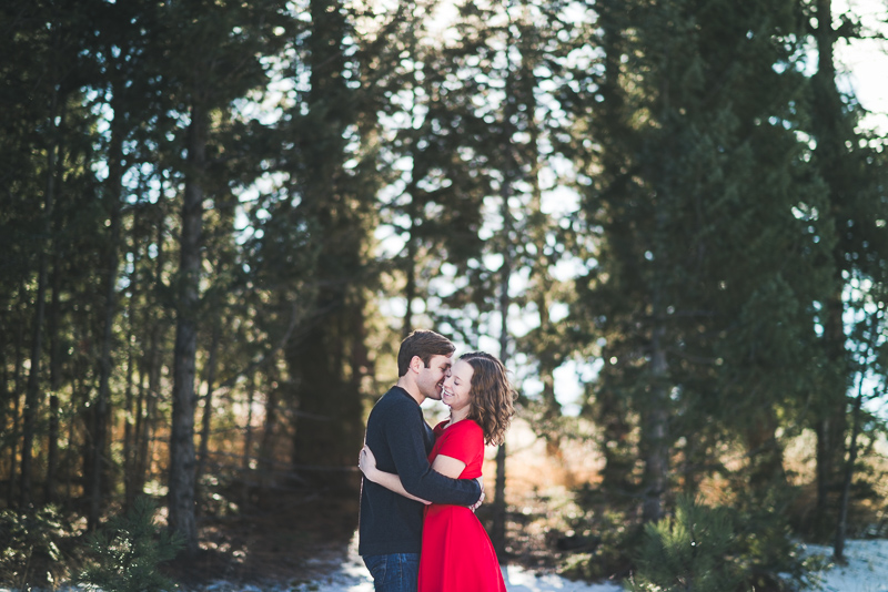 Evergreen Engagement Photography pine trees