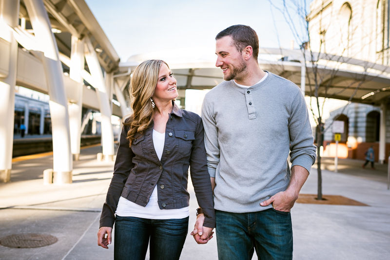 Denver Engagement Photography walking and smiling