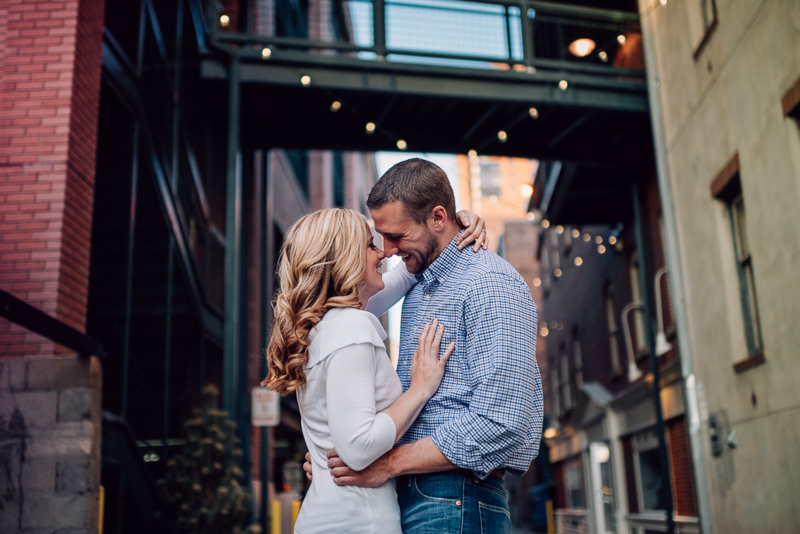 Denver Engagement Photography kissing in alley