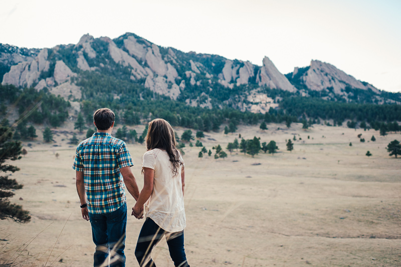 Boulder Engagement Photography looking at flatirons