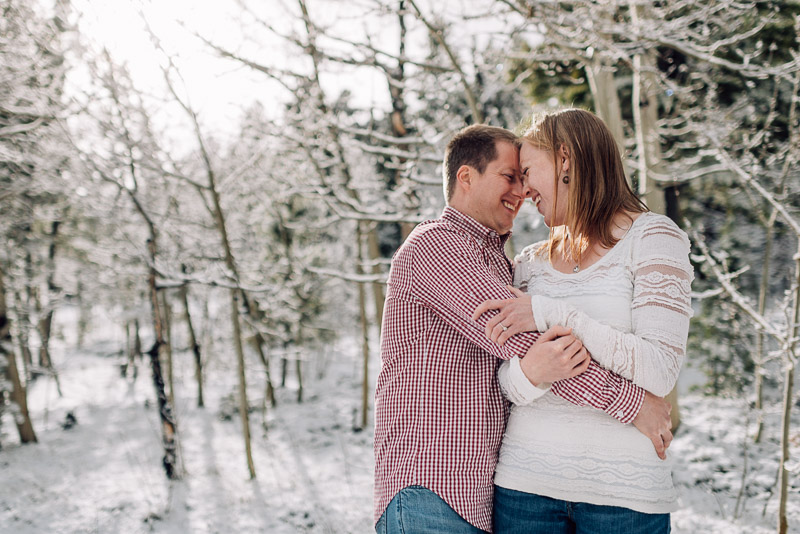 Boulder Engagement Photography sunshine and snow