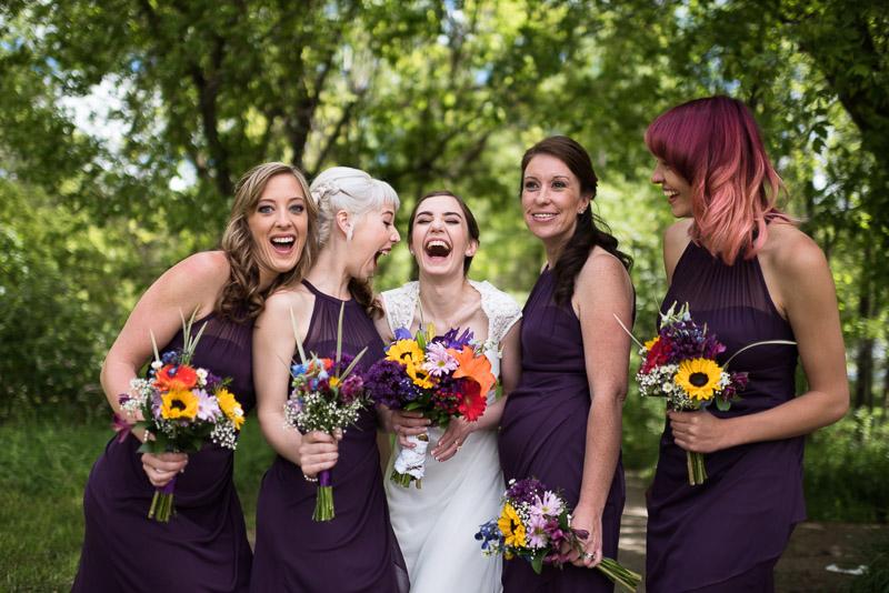 chatfield botanic gardens wedding photography laughing bridesmaids