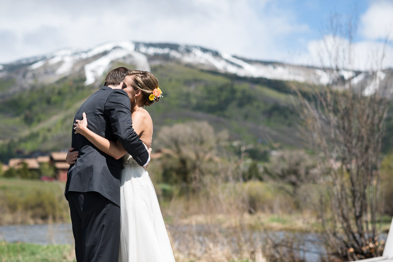 steamboat springs wedding photography first look hug