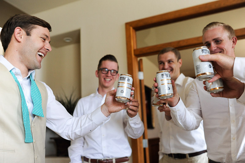 Denver Wedding Photography Cherokee Ranch and Castle beer can toast