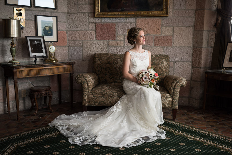 Denver Wedding Photography Cherokee Ranch and Castle seated bride portrait