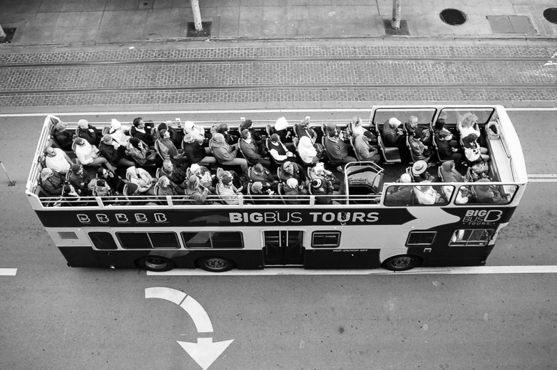 San Francisco bw film bus