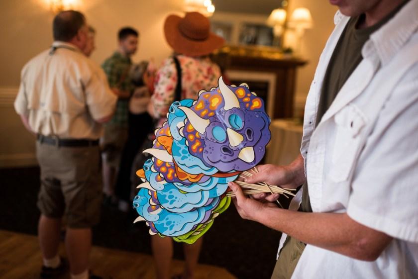 morrison willow ridge manor wedding photographer dinosaur masks