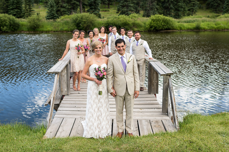 Emily and Ryan Lower Lake Ranch Wedding Photography wedding party on dock