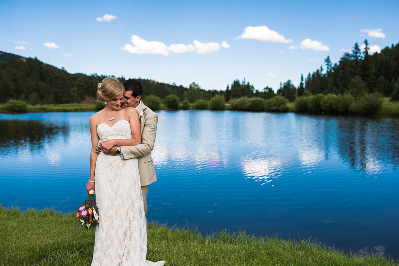 Emily and Ryan Lower Lake Ranch Wedding Photography bride and groom at lake
