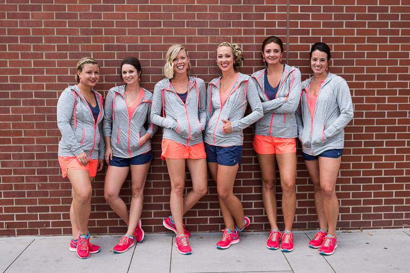 Denver athletic club wedding sporty bridesmaids