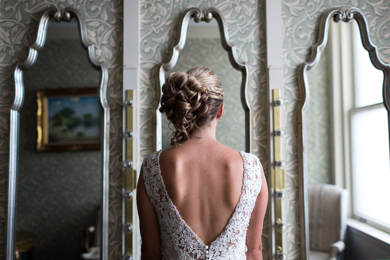 Denver athletic club wedding bride mirror