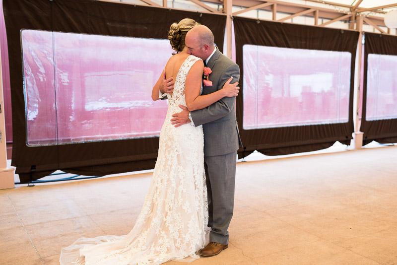 Denver athletic club wedding first look hug